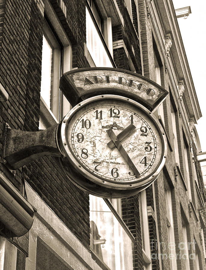 Amsterdam Photograph - Amsterdam Vintage Deco Clock Sign In Sepia by Gregory Dyer