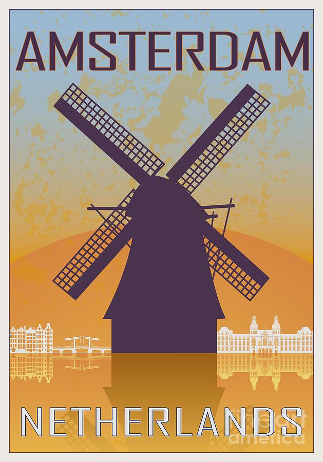 Amsterdam Vintage Poster Digital Art