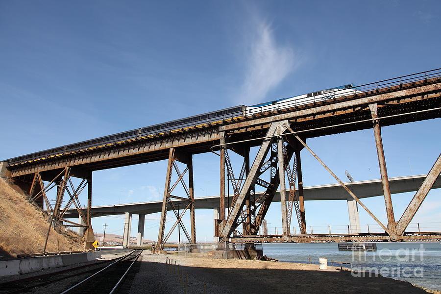 Transportation Photograph - Amtrak Train Riding Atop The Benicia-martinez Train Bridge In California - 5d18775 by Wingsdomain Art and Photography