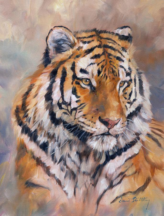 Amur Tiger Painting by David Stribbling