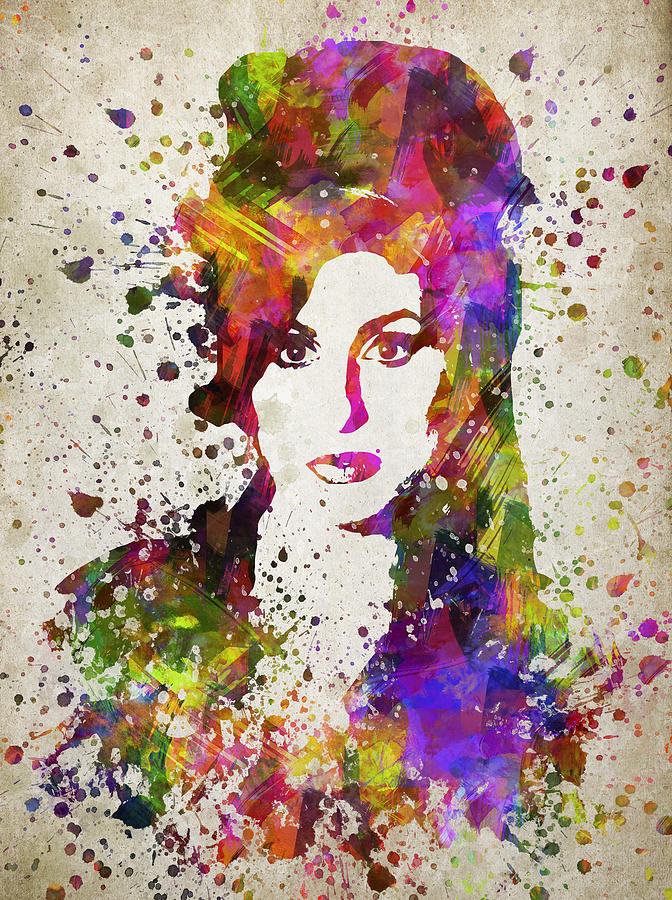 amy winehouse in color digital art by aged pixel