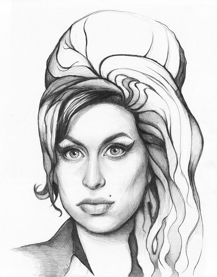 Black and white drawing amy winehouse by olga shvartsur