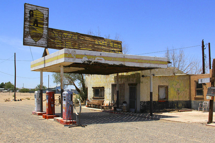 Fuel Pumps Photograph - An Abandon Gas Station On Route 66 by Mike McGlothlen