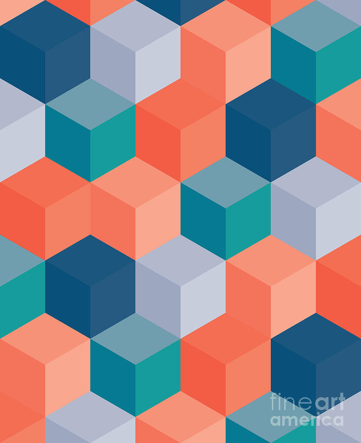 Pattern Digital Art - An Abstract Geometric Vector Background by Mike Taylor