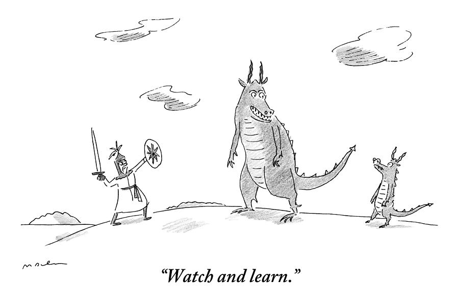 An Adult Dragon Instructs His Child Dragon Drawing by Michael Maslin