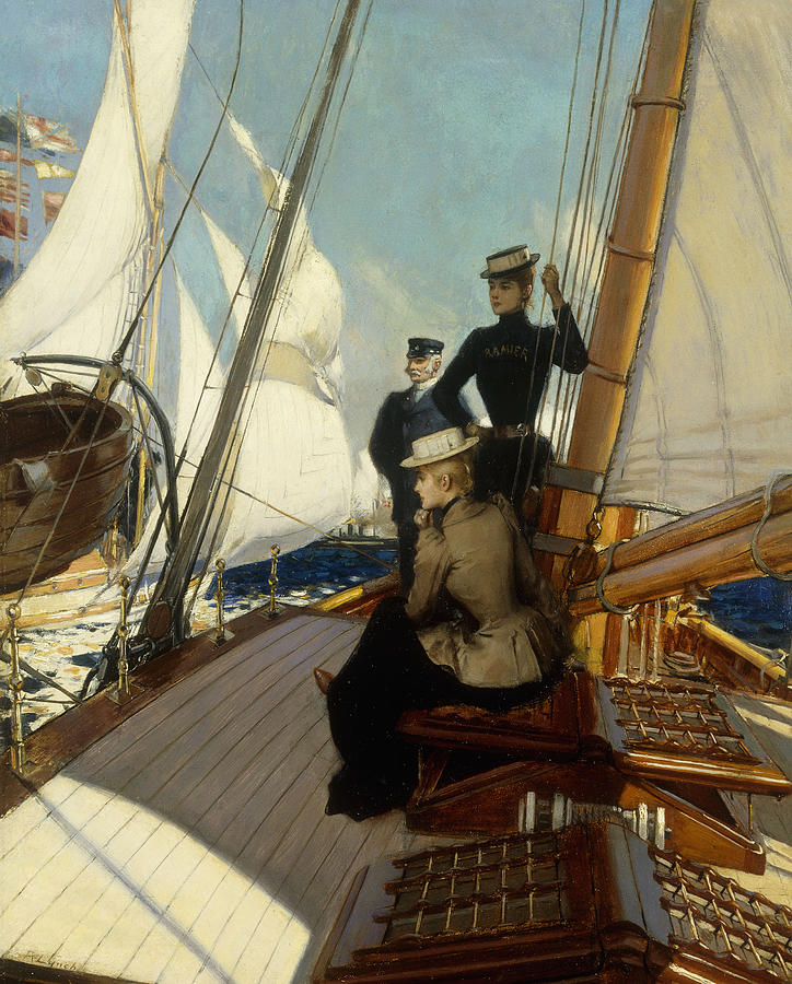 Boat Painting - An Afternoon At Sea  by Albert Lynch