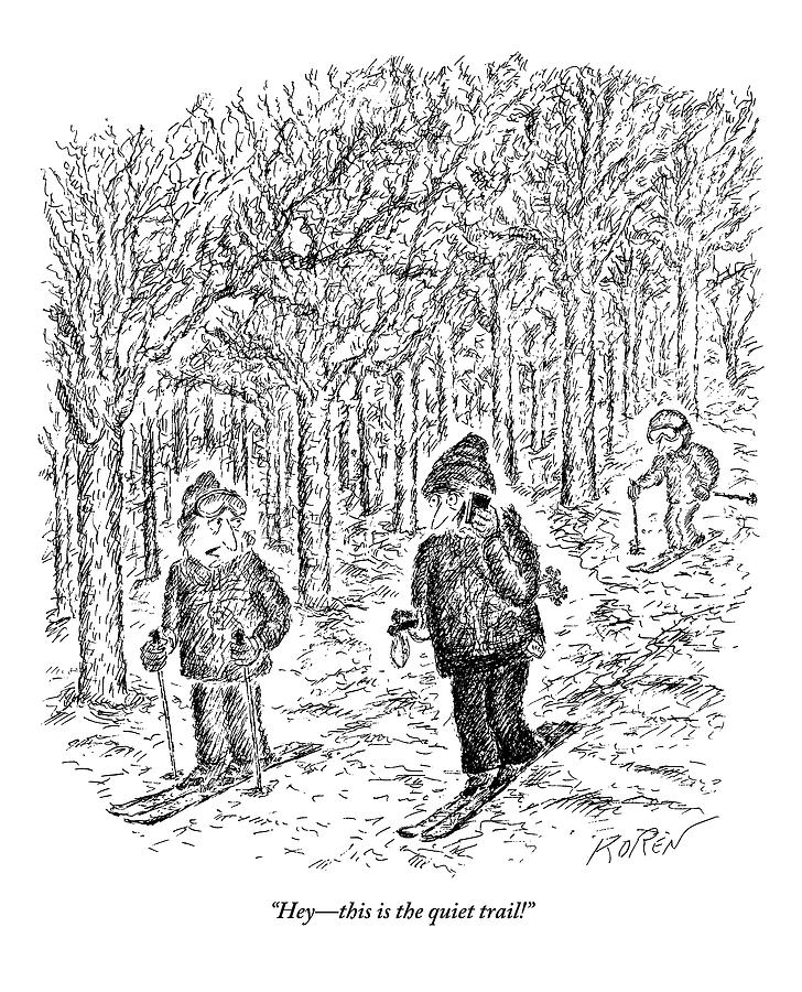 An Aggravated Skier Glares At Another Skier Who Drawing by Edward Koren