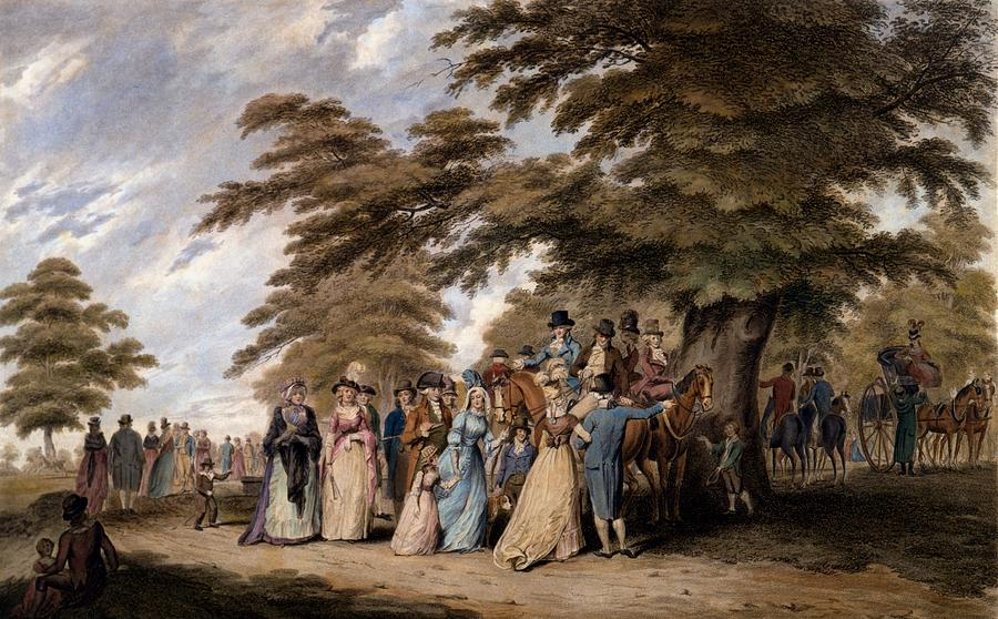 Airing Drawing - An Airing In Hyde Park, 1796 by Edward Days