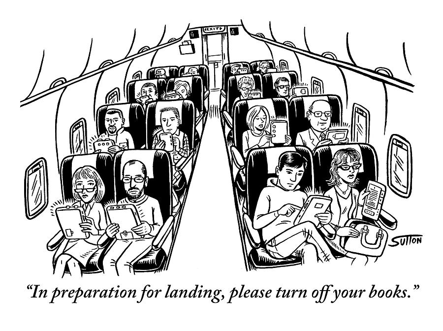 An Airplane Is Seen Full Of Passengers Holding Drawing by Ward Sutton