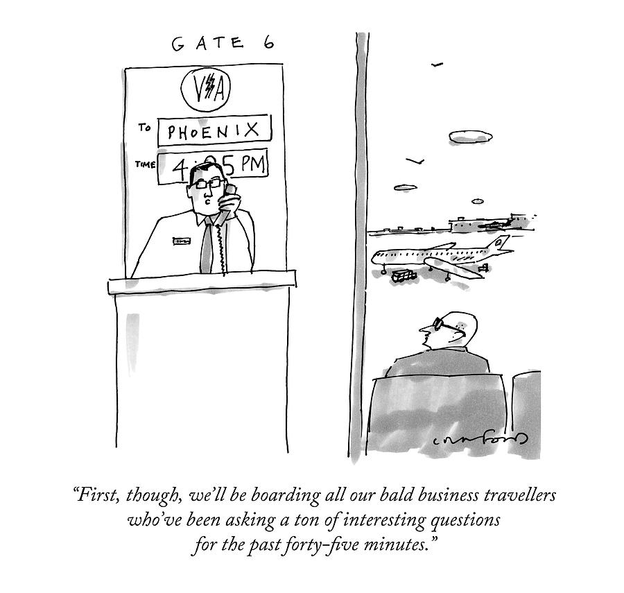 An Airport Gate Agent Makes An Announcement Drawing by Michael Crawford