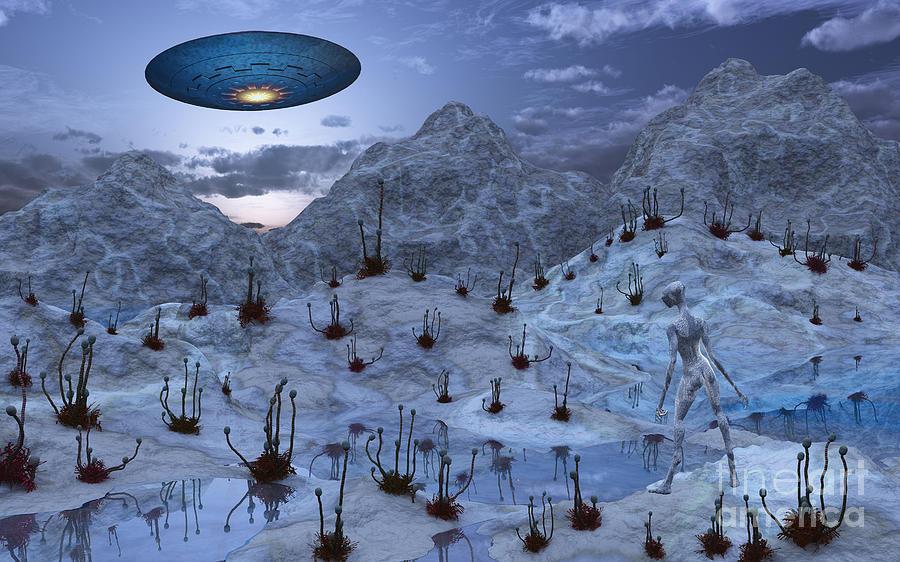 Horizontal Digital Art - An Alien Reptoid Being Signaling by Mark Stevenson