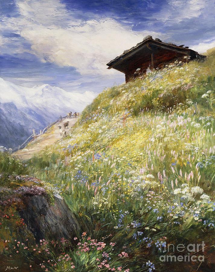 Alps Painting - An Alpine Meadow Switzerland by John  MacWhirter