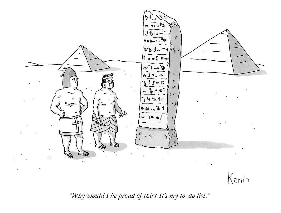 An Ancient Egyptian Mason Describes An Obelisk Drawing by Zachary Kanin