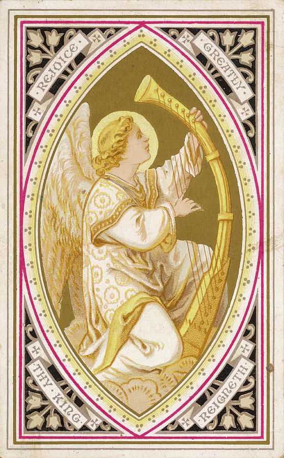 Angel Drawing - An Angel Plays A Harp          Date by Mary Evans Picture Library