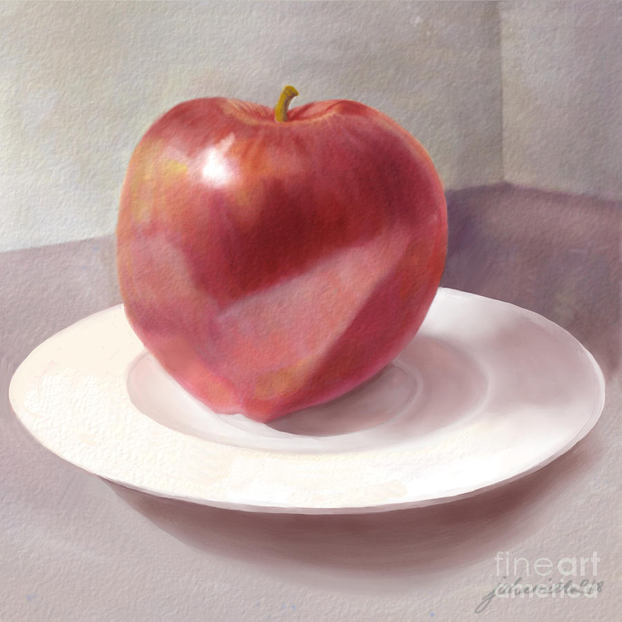 Apple Painting - An Apple For Sue by Joan A Hamilton