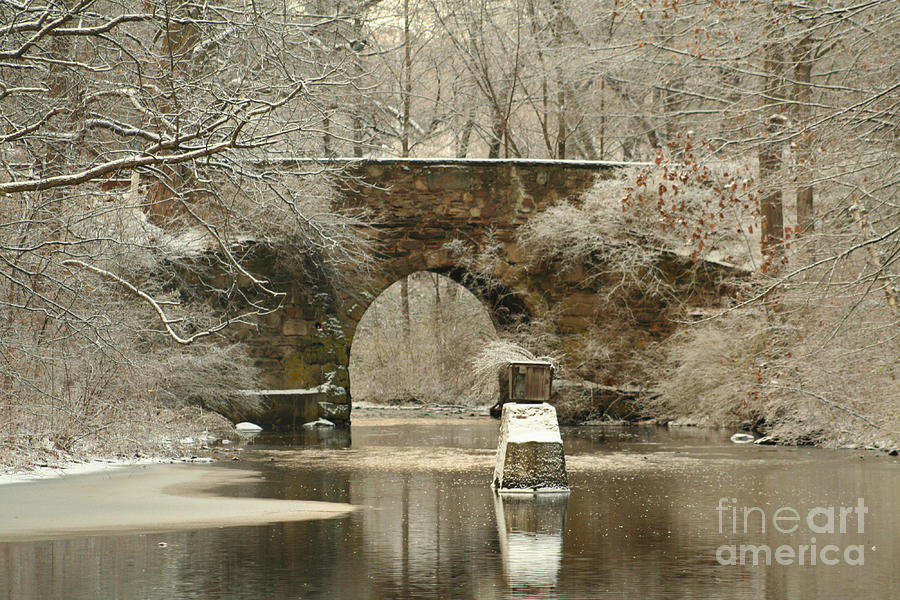 New England Photograph - An Arched Stone Bridge by Linda Jackson