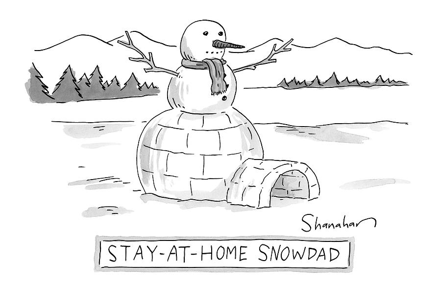 An Arctic Igloo With A Snowman Top Drawing by Danny Shanahan