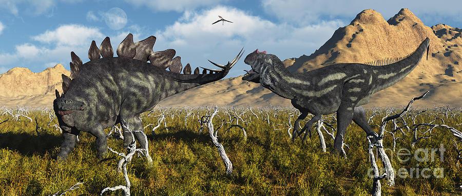 An Armor Plated Stegosaurus Defending Digital Art