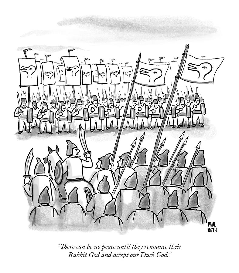 An Army Lines Up For Battle Drawing by Paul Noth