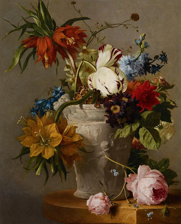 Still-life Painting - An Arrangement With Flowers by Georgius Jacobus Johannes van Os