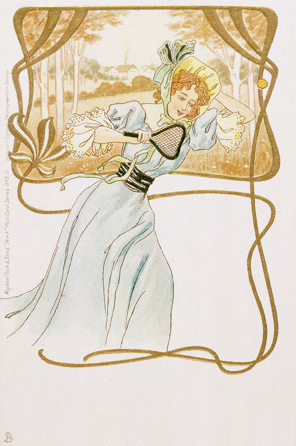 An Art Nouveau Girl Plays Tennis Drawing By Mary Evans Picture Library