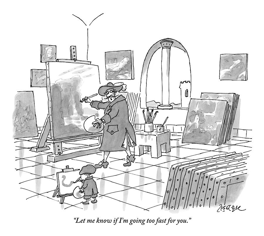 An Artist And A Child Are Seen Painting Together Drawing by Jack Ziegler