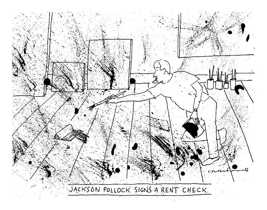 An Artist, Presumable Jackson Pollock, Reaches Drawing by Michael Crawford
