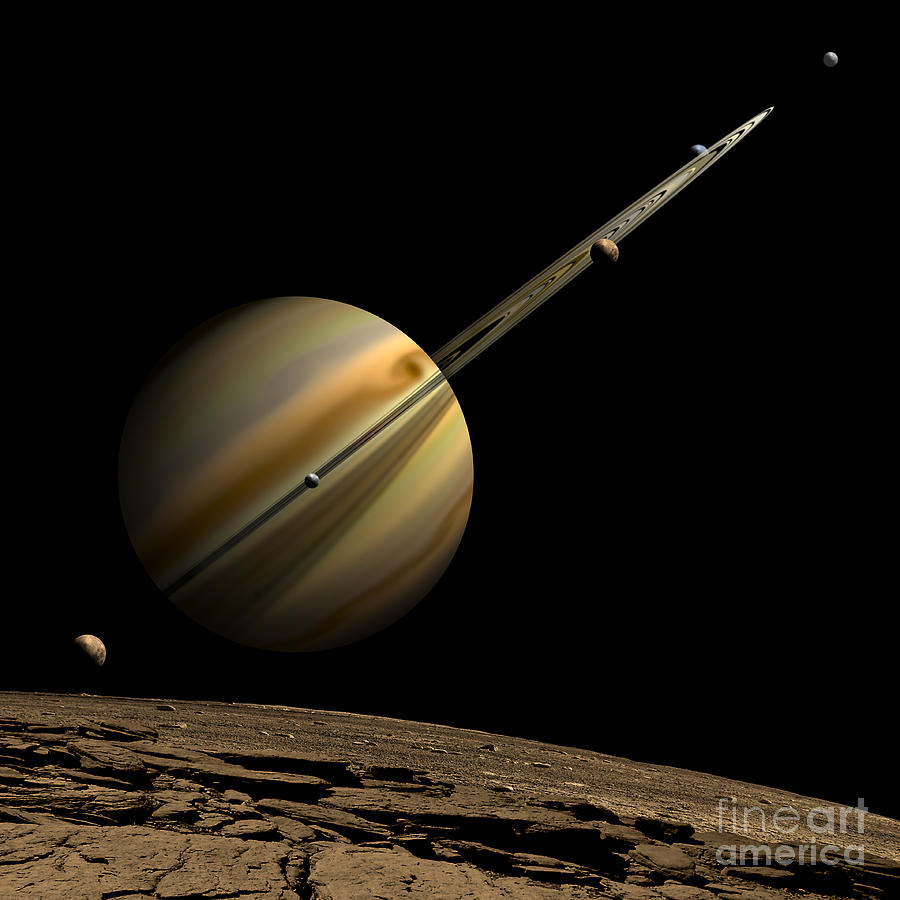 Astronomy Digital Art - An Artists Depiction Of A Ringed Gas by Marc Ward