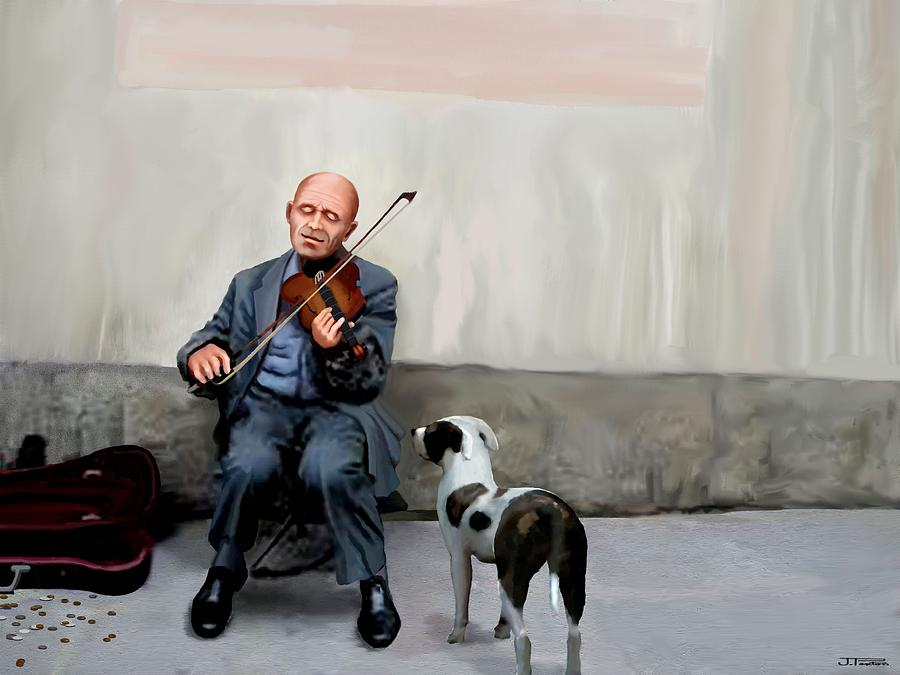 Fiddle Player Painting - An Audience Of One by Jann Paxton