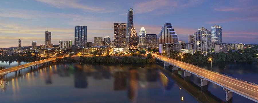 Austin Tx Photograph - A Panorama Of The Austin Skyline Over Lady Bird Lake by Rob Greebon