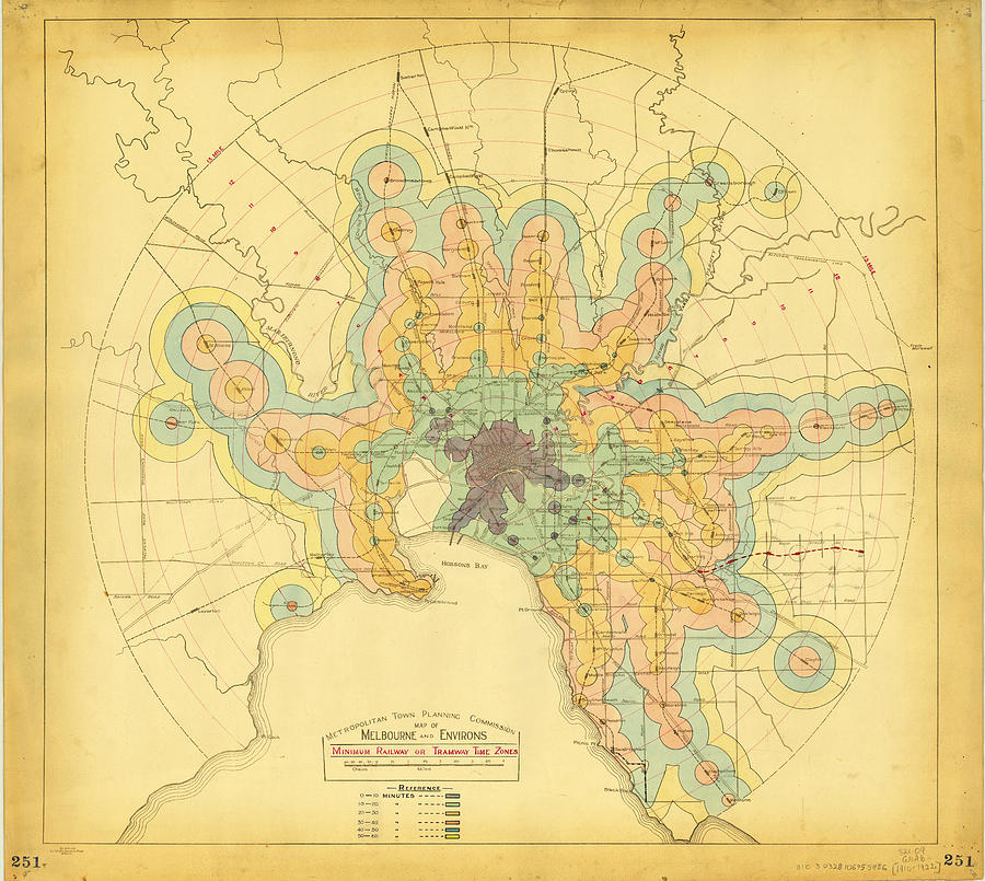 An early isochrone map of melbourne rail transport travel times world painting an early isochrone map of melbourne rail transport travel times by celestial images gumiabroncs Choice Image