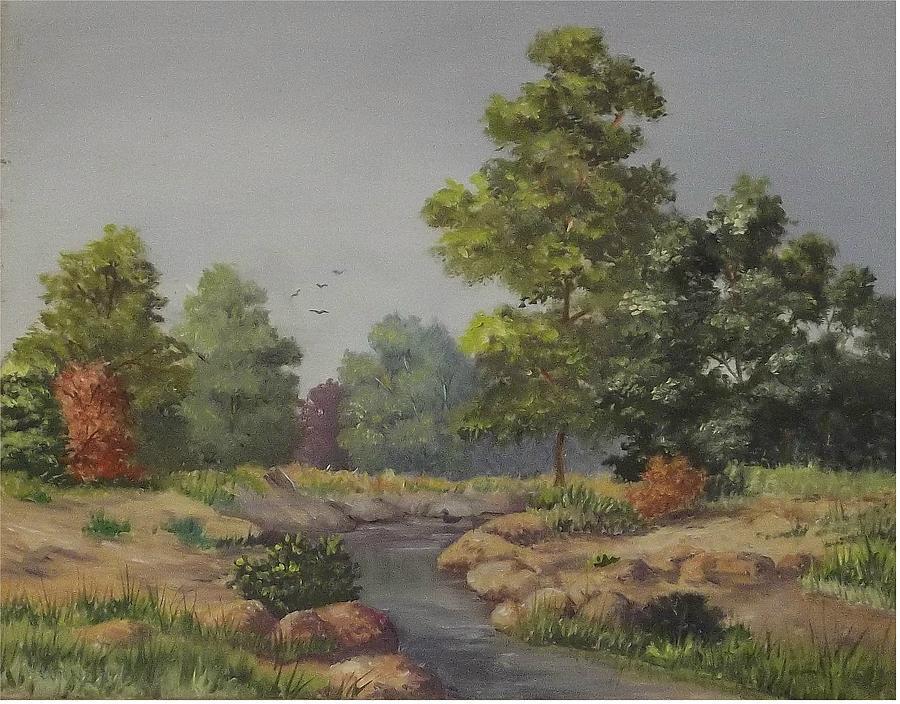 Blue Skys Painting - An East Texas Creek by Wanda Dansereau