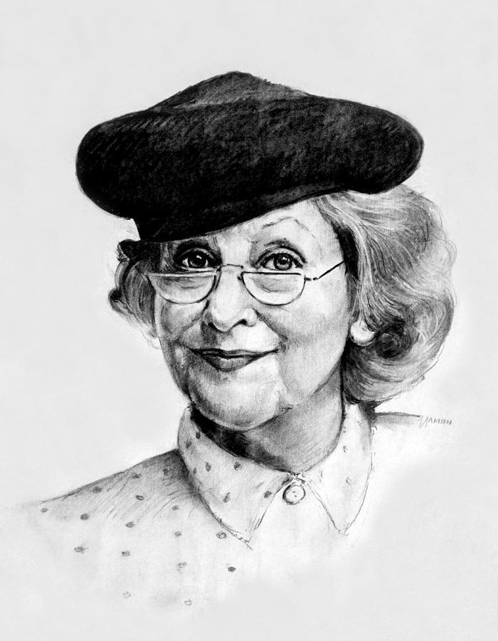 Portrait Drawing - An Elderly Lady by Iliyan Bozhanov