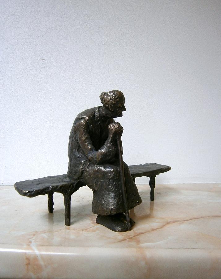 Bronze Sculpture - An Elderly Woman On A Bench by Nikola Litchkov