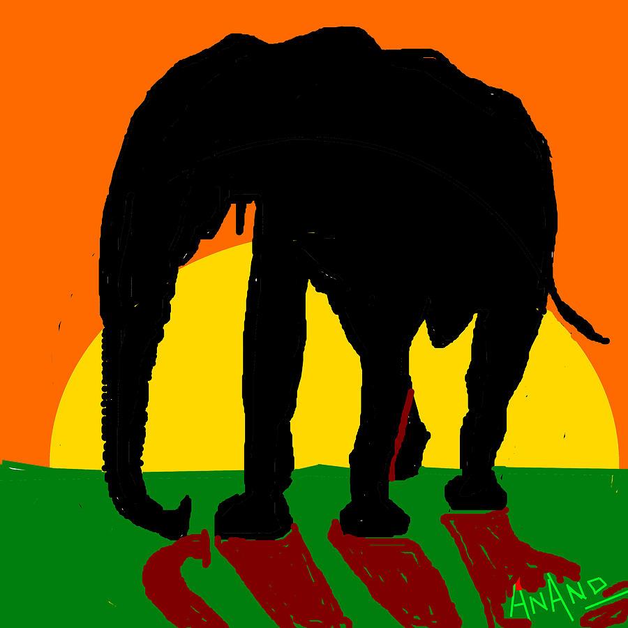 Peacocks Digital Art - An Elephant And Sun by Anand Swaroop Manchiraju