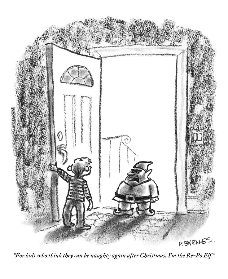 Holidays Drawing - An Elf Arrives At A Childs Front Door by Pat Byrnes