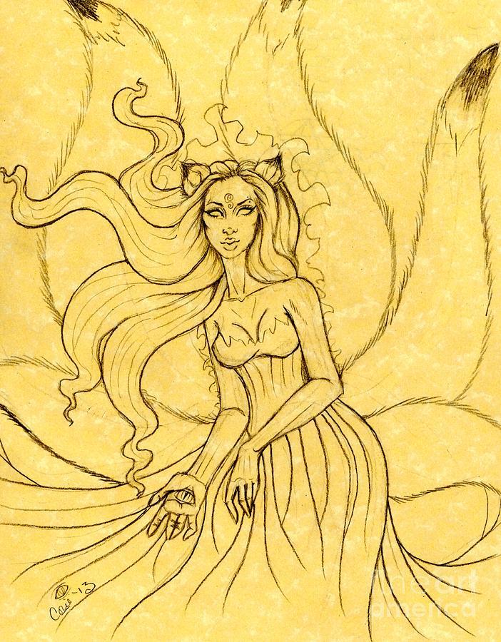 Kitsune Drawing - An Enchanting Breeze Sketch by Coriander  Shea