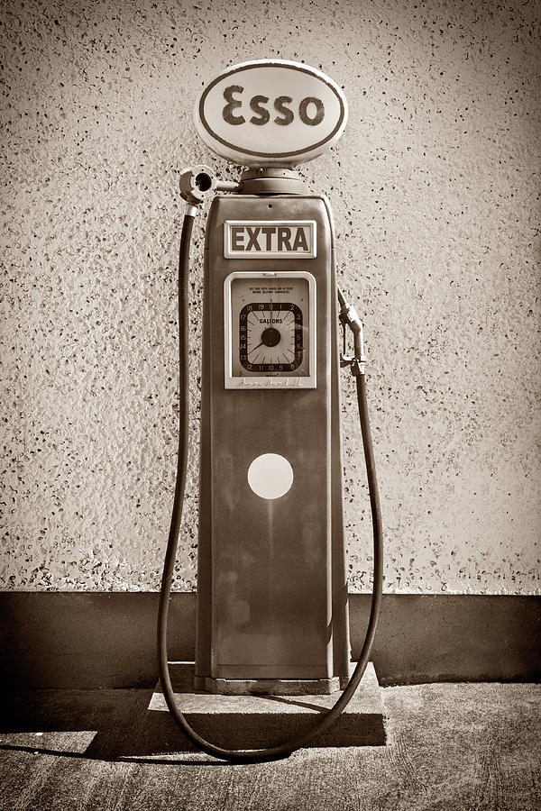 Vertical Photograph - An Esso Petrol Pump From The First Half by Panoramic Images
