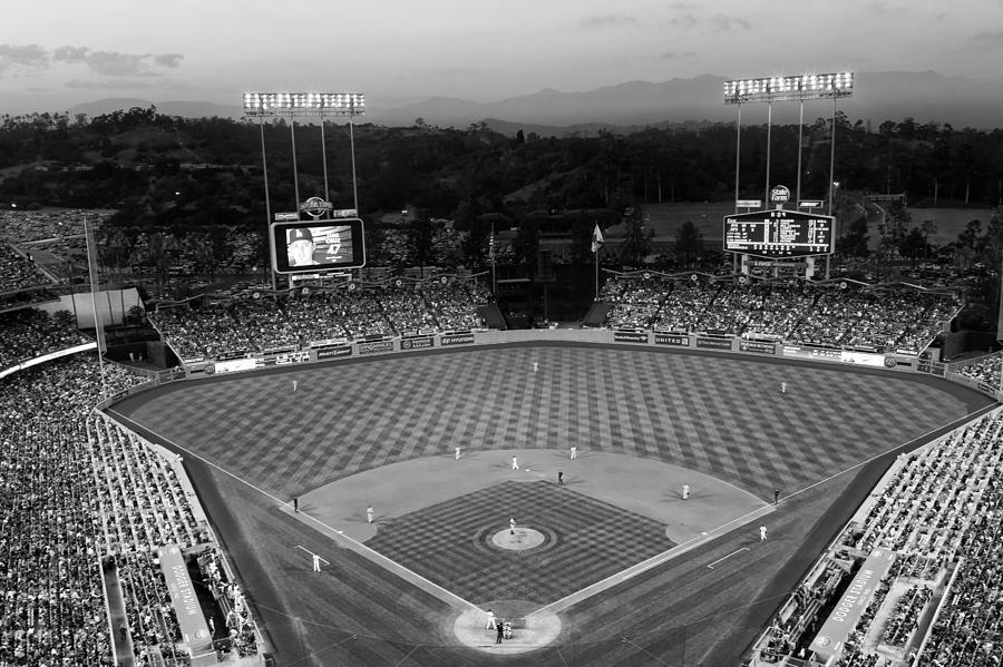 Chavez Ravine Photograph - An Evening Game at Dodger Stadium by Mountain Dreams