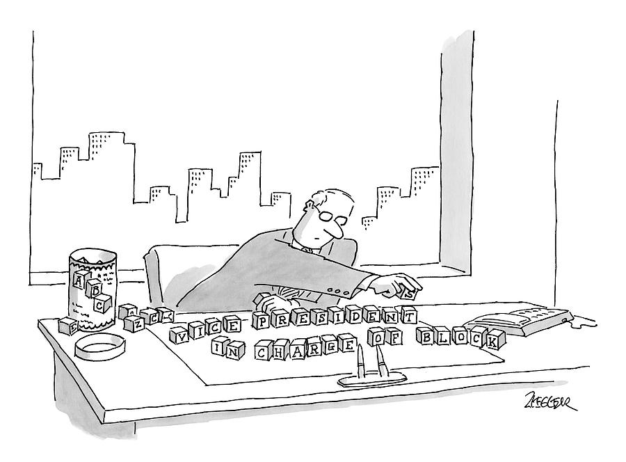 An Executive Sitting At His Desk Plays Drawing by Jack Ziegler