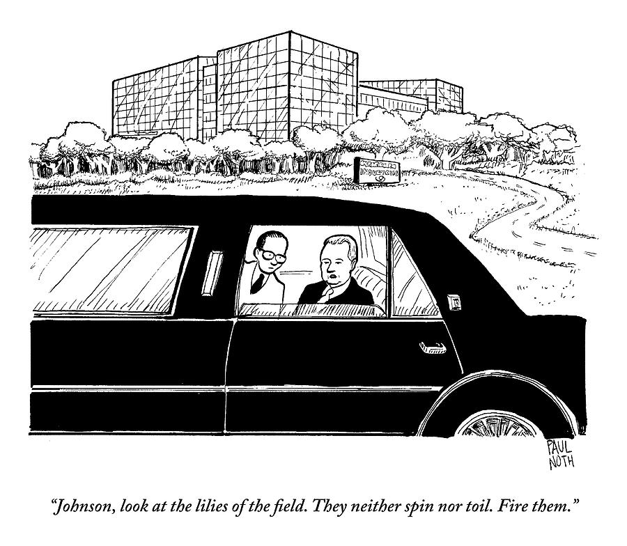 An Executive Speaks To His Employee In The Back Drawing by Paul Noth