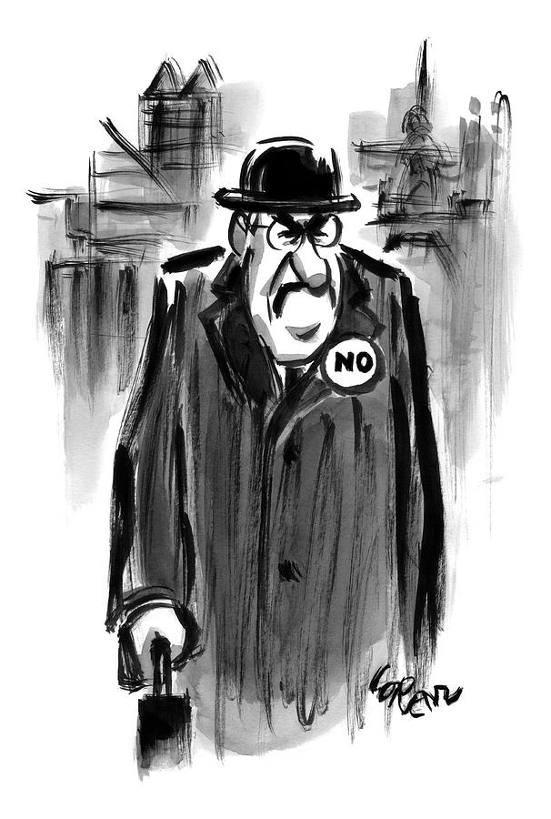 An Executive Wears A Pin That Says No Drawing by Lee Lorenz