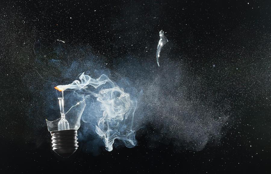 An Exploded Light Bulb Photograph by Dual Dual