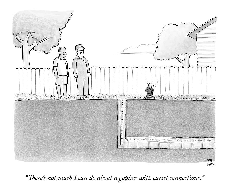 An Exterminator And Home-owner Look Drawing by Paul Noth