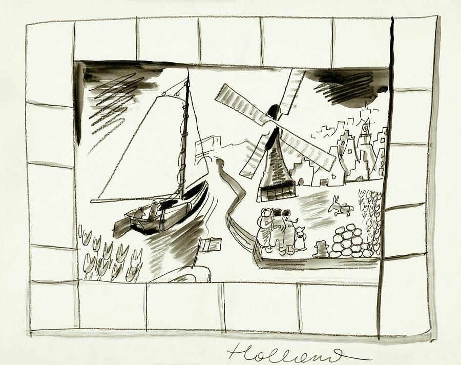 An Illustrated Depiction Of Holland Digital Art by Ludwig Bemelmans