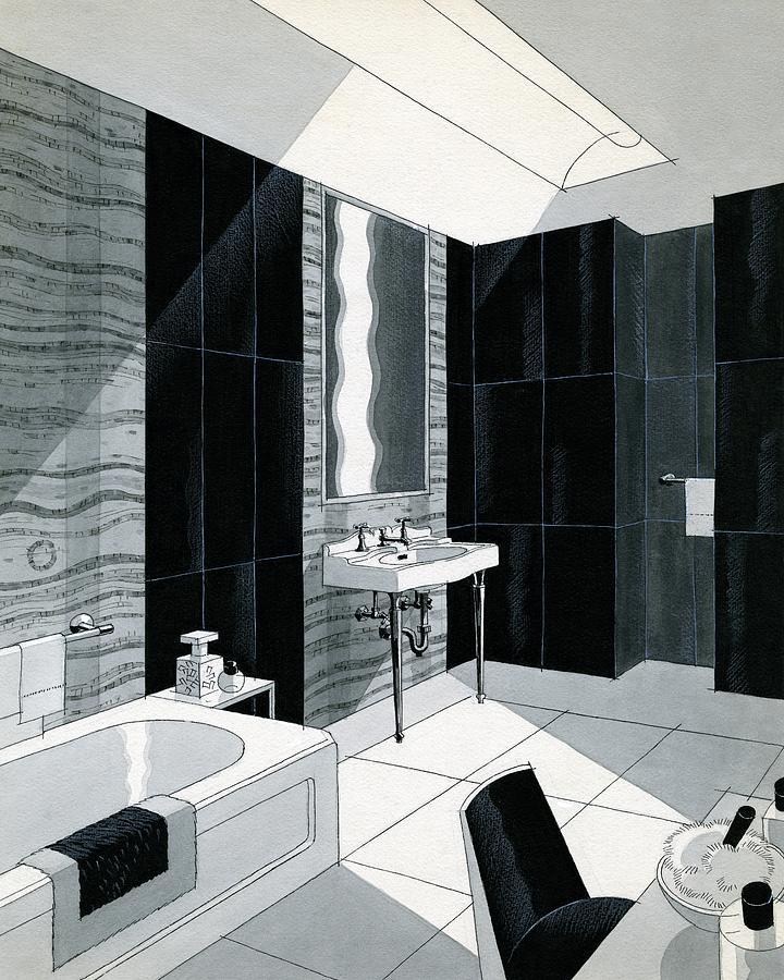 An Illustration Of A Bathroom Digital Art by Urban Weis