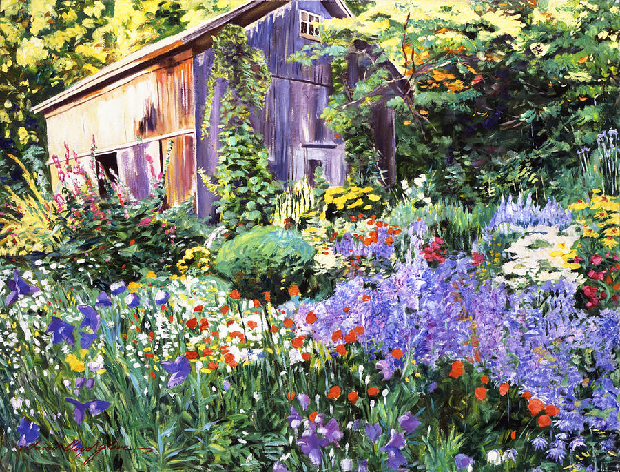 An Impressionist Garden Painting By David Lloyd Glover