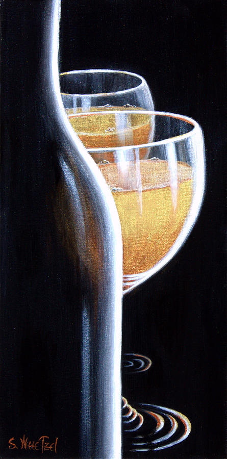 Wine Goblet Painting - An Indecent Proposal by Sandi Whetzel