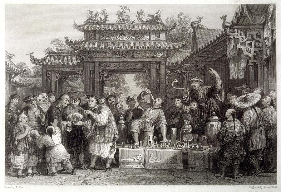 Medical Drawing - An Itinerant Chinese Doctor At by Mary Evans Picture Library