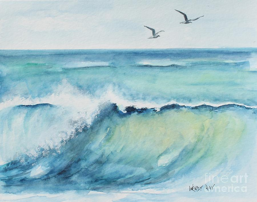 Blue Painting - An Oceans Wave by Wendy Ray